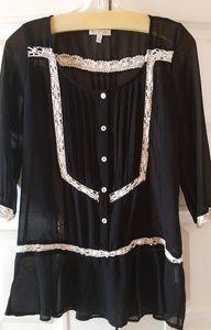 GB Blouse Black Semi Sheer 3/4 Sleeves